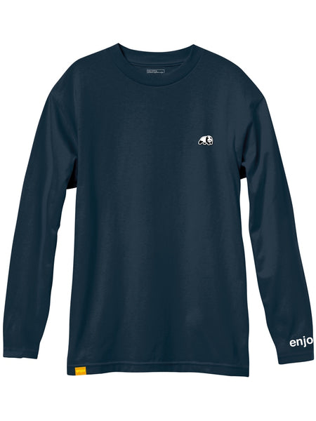 enjoi panda patch midnight navy custom dye long sleeve premium tshirt