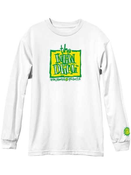 New Deal Original Napkin Logo Long Sleeve White Tee