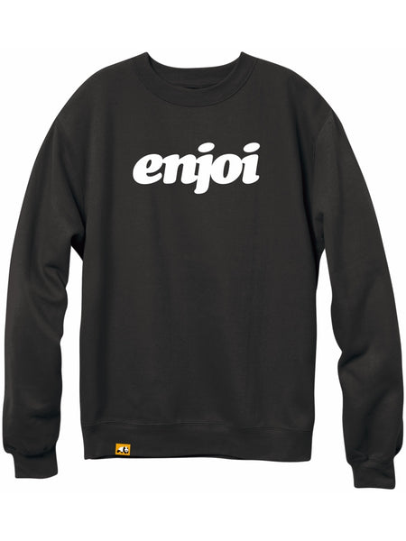 enjoi flocked custom dye black Premium Crew Sweatshirt