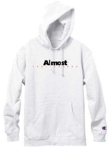 Almost Classic Logo White Champion Pullover Hood