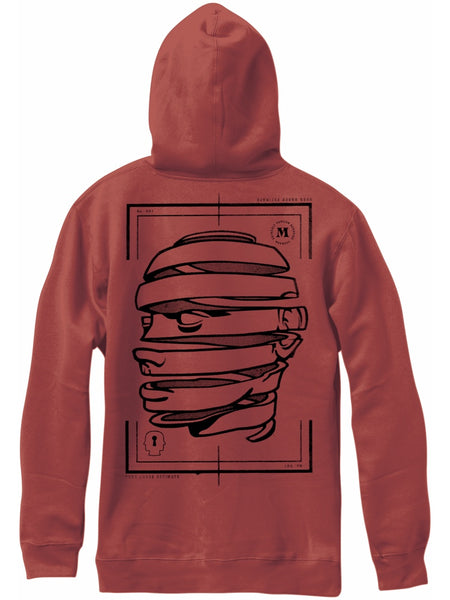 MADNESS Head Well Brick Red Pullover Hoodie