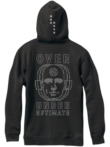 MADNESS  Over Under Premium Custom Dye Vintage Black Pull Over Hoodie