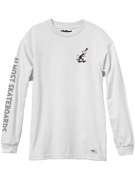 Almost Dr Seuss Skater Cat White Long Sleeve Tee