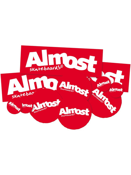 Almost Red 10 Pack Mixed Logo Stickers