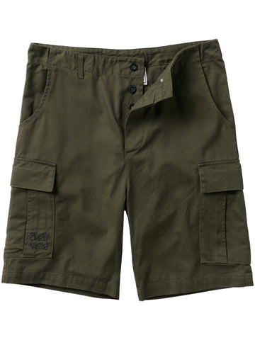 Front of dark green cargo shorts.