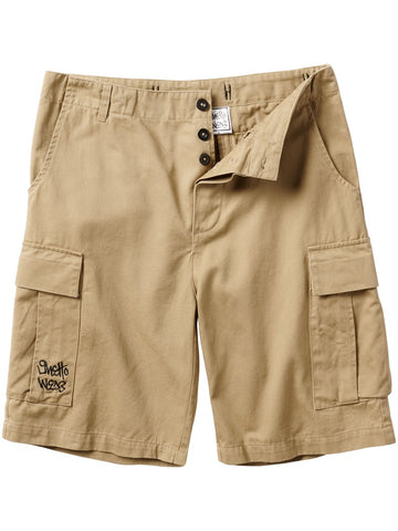 Front of khaki cargo shorts.