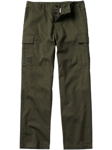 Front of army green cargo pants.