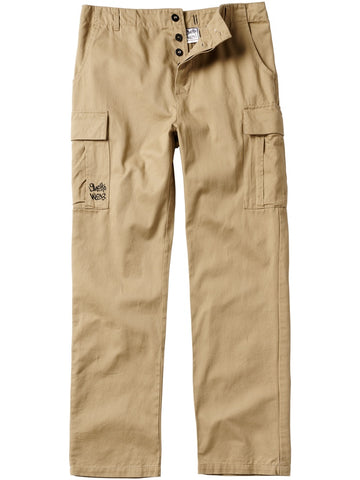 Front of khaki cargo pants.