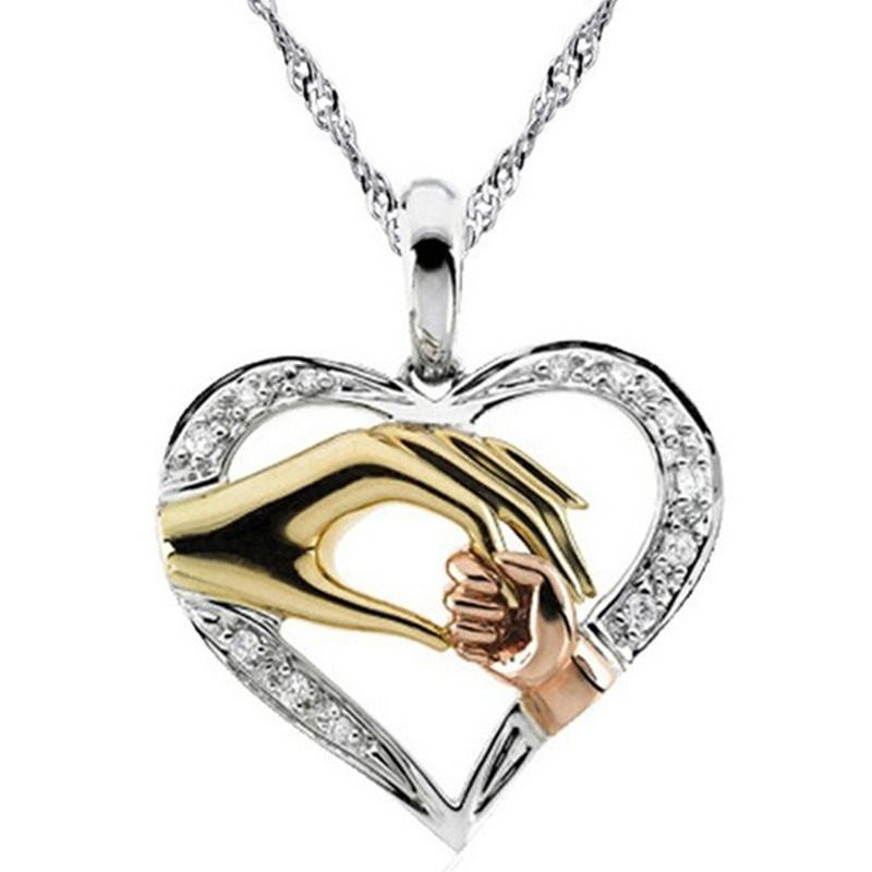 2019 Mom Necklace Baby Heart Pendant Mother Daughter Son Child Family Love Cubic Zirconia Jewelry Friends Birthday Gift Box