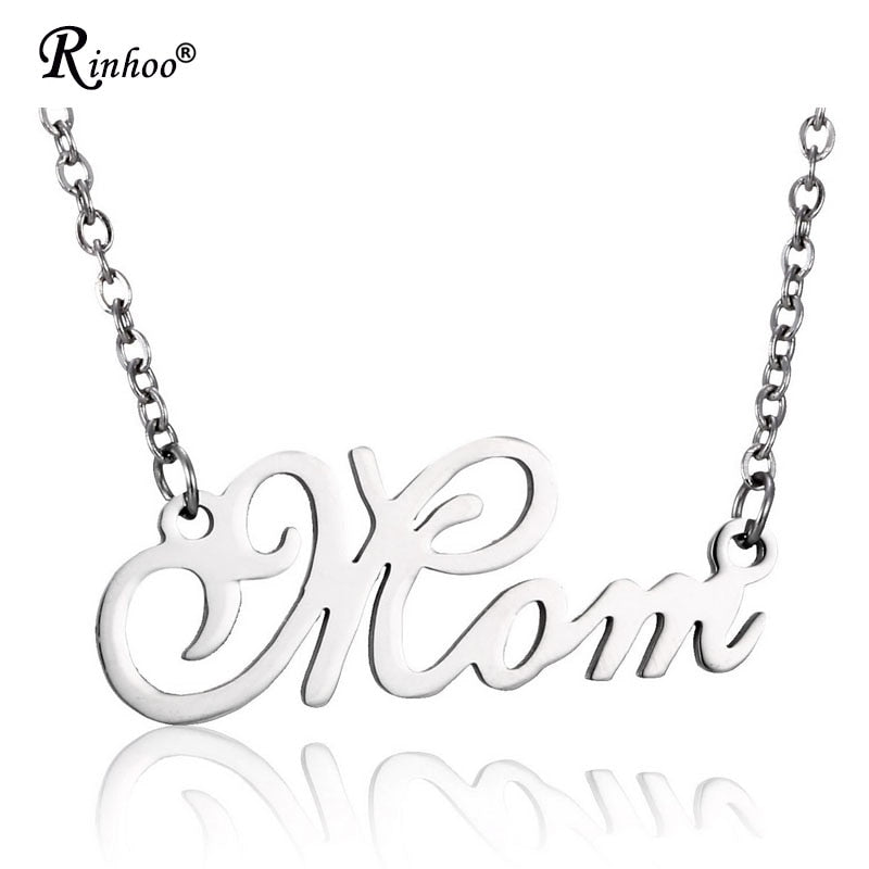 Engraved Letters Mom Dad Love Forever Stainless Steel Necklace Pendant Family Jewelry Gift For Father Mother Birthday