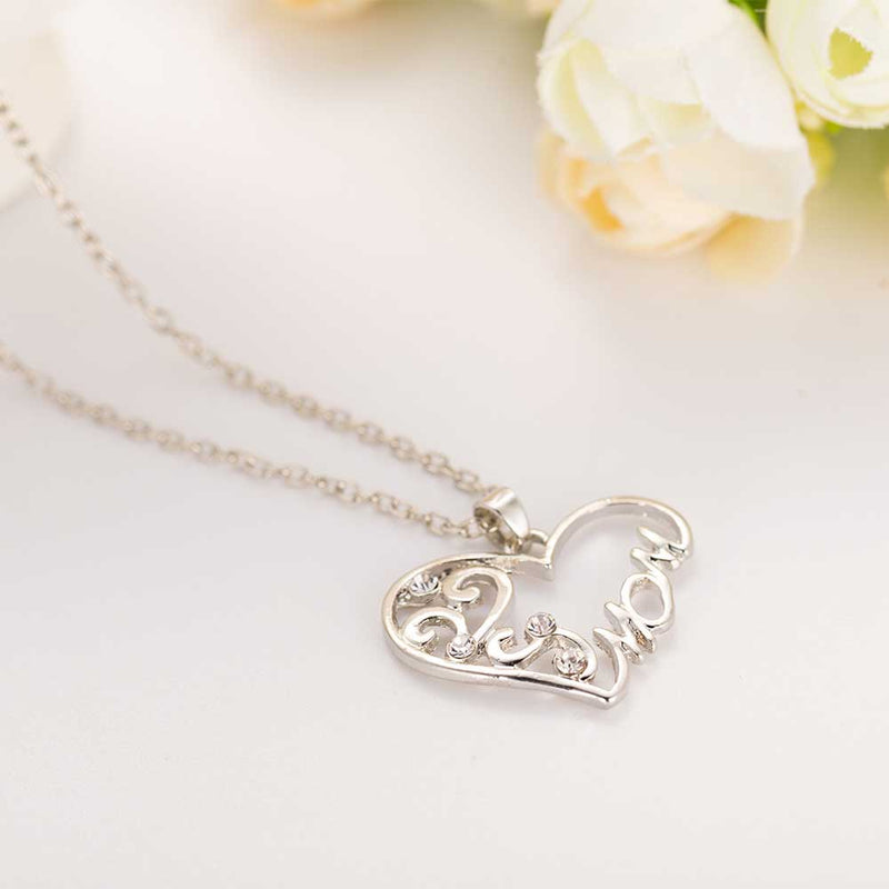 "FAMSHIN Fashion Korean mother and child love ""Mom"" crystal pendant necklace Mother's Day gifts sweater chain necklace for mother"