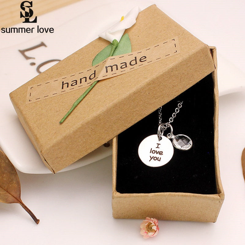 Romantic engraving pendant I Love You necklace 316l stainless steel clear crystal necklace for women girl gift Te quiero Abuela