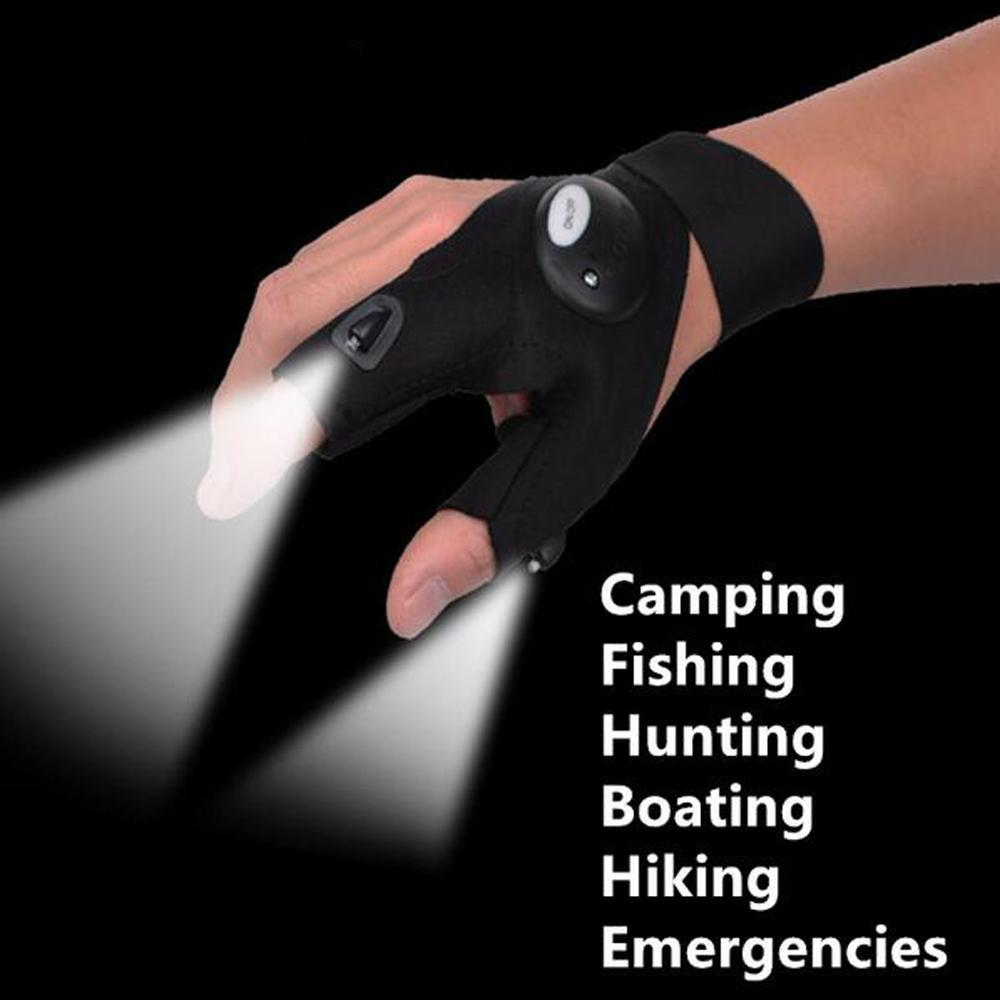 Fishing Magic Strap Fingerless Glove LED Flashlight Torch Cover