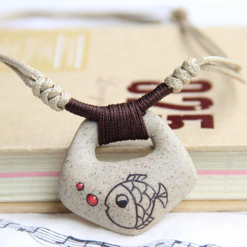 Ceramic Cartoon Necklaces Handmade Clay Fish Pendants Fashion Vintage Jewelry Ethnic Style