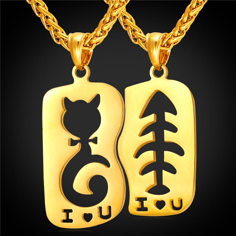 Cartoon Hollow Cat Love Fish Necklaces Yellow Gold Color Pair Couple Jewelry for Women/Men