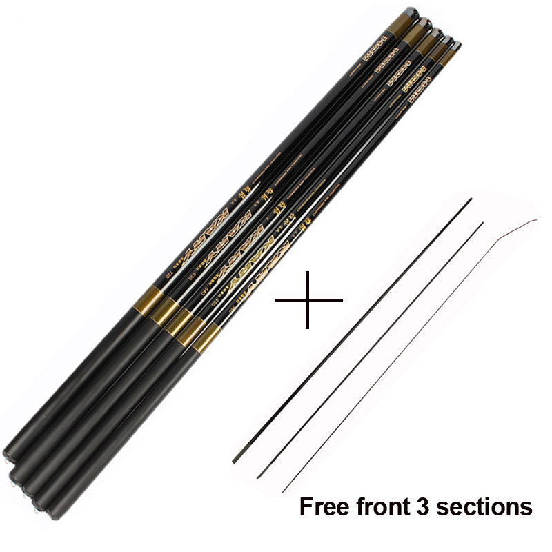 Carp Fishing Rod with Free Spare 3 Tips 3.6M-7.2M Pole Ultra-light Hand Telescopic
