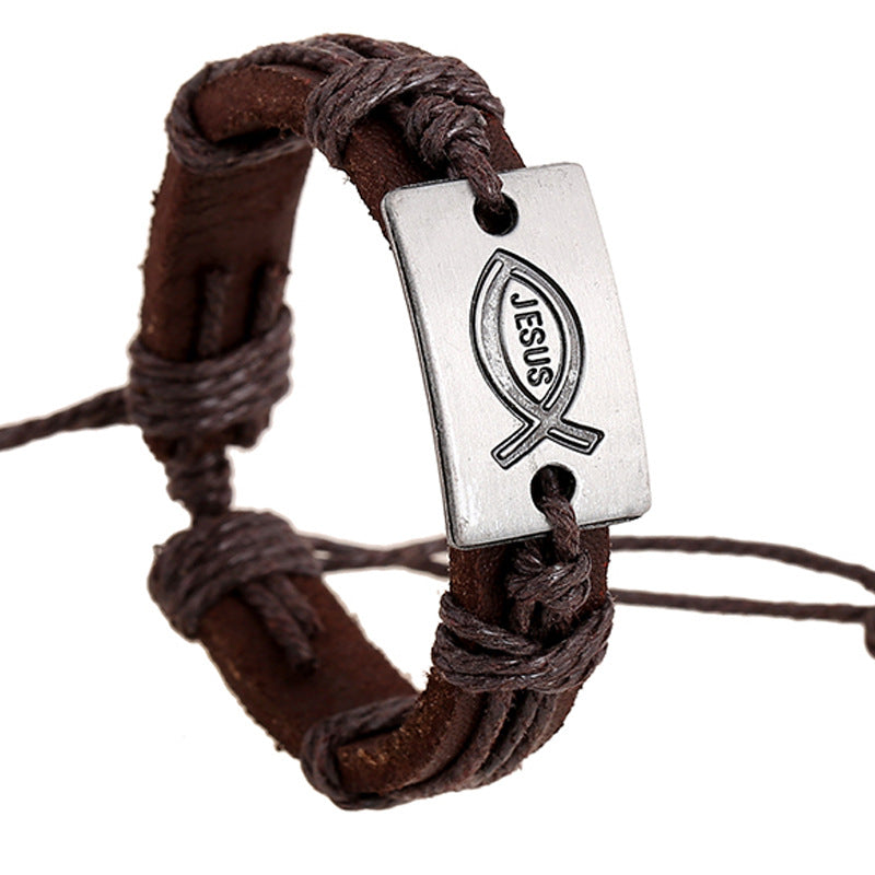 Men Jewelry Jesus Fish Alloy Leather Casual Personality Hemp Rope Vintage Punk Bracelet