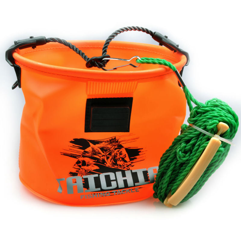 Fishing Bucket Orange Box + Water Carrying Rope Proof Circular Tackle Camping Folding Bucket