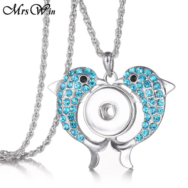 Multicolor Crystal Double Fish Snap Pendant Necklace