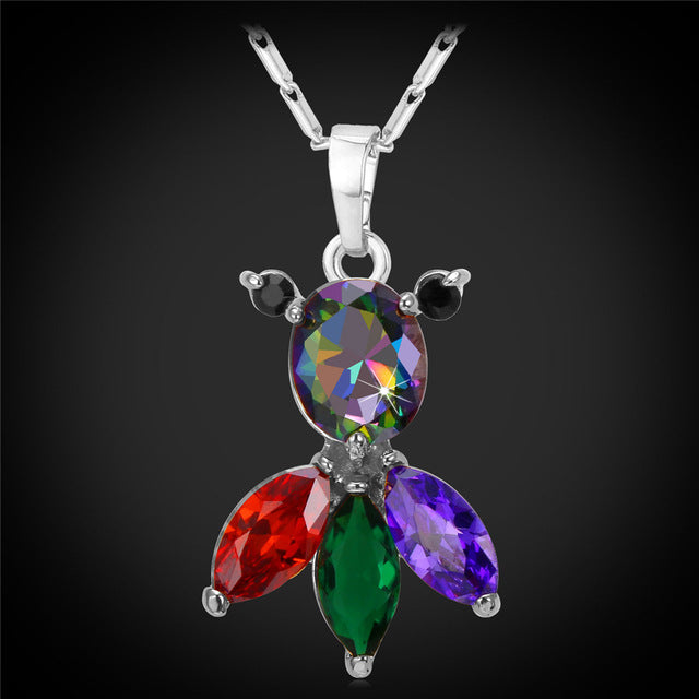 Colorful Crystal Fish Necklace Cute Gift Cubic Zirconia Fashion Necklace For Women Animal Jewelry
