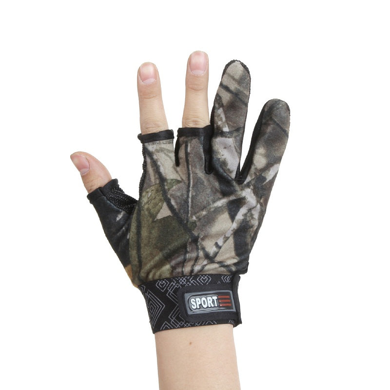 Outdoor Breathable Dust-proof Three Cut Finger  Men's Anti-Cut Fingerless Fishing Gloves