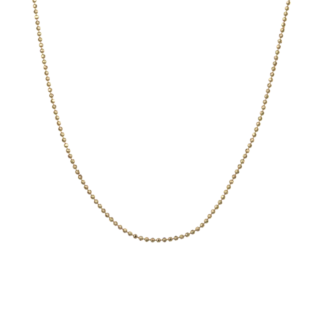 14k rose yellwo gold stardust diamond cut bead ball chain necklace