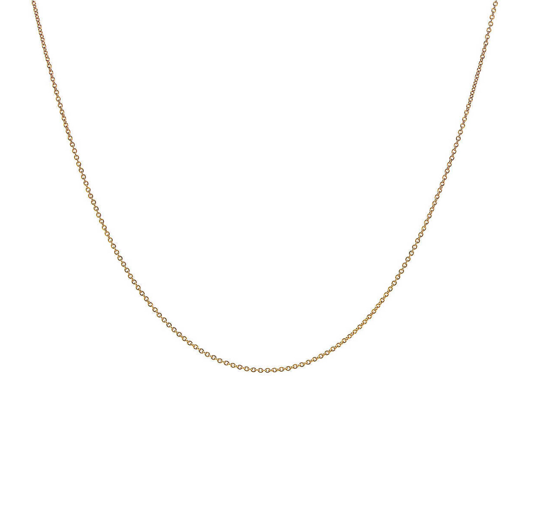 14k solid gold fine round cable chain necklace