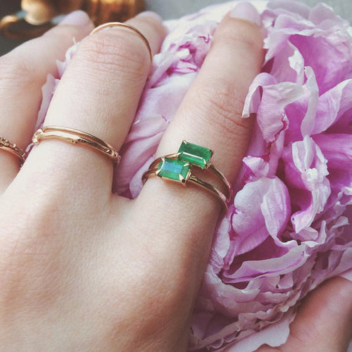 14k gold octagon green columbian emerald baguette stacking ring