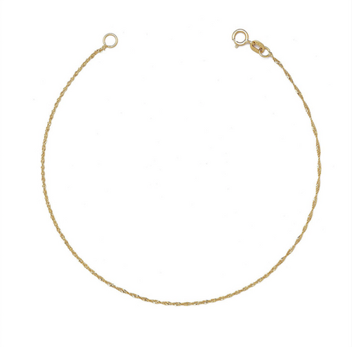 14k yellow gold thread twist braid rope chain bracelet
