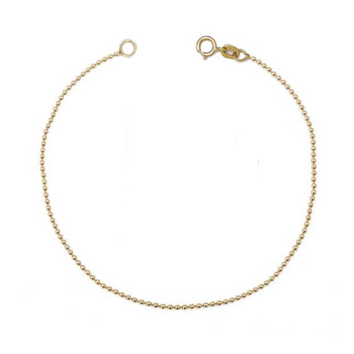 14k stardust diamond cut bead ball chain bracelet
