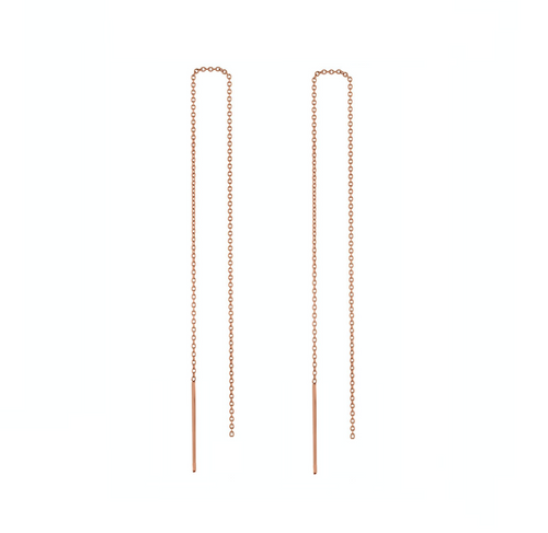 14k gold stitch threader long drop earrings