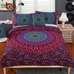 Romantic Mandala 4 Piece Bedding Set - Soft Twill Bohemian Duvet Cover Set with Pillowcases 4pcs