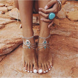 Anklets - CLEARANCE - Boho Turquoise Beaded Barefoot Sandal Or Anklet - Gorgeous Multilayer Chains!