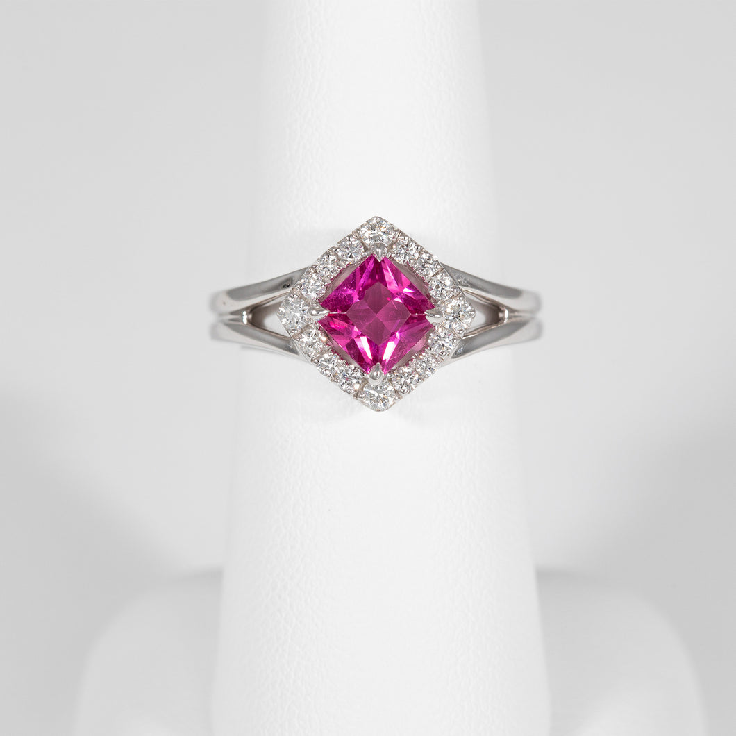 Pink Sapphire White Gold Fashion Ring