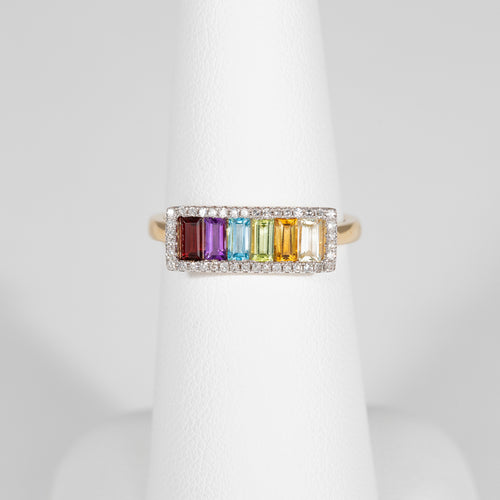 14kt Yellow Gold Multi Colored Gemstone Ring