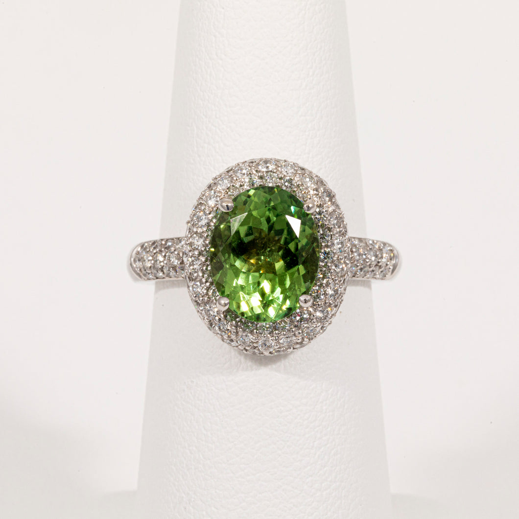 14kt White Gold Halo Ring With Green Tourmaline
