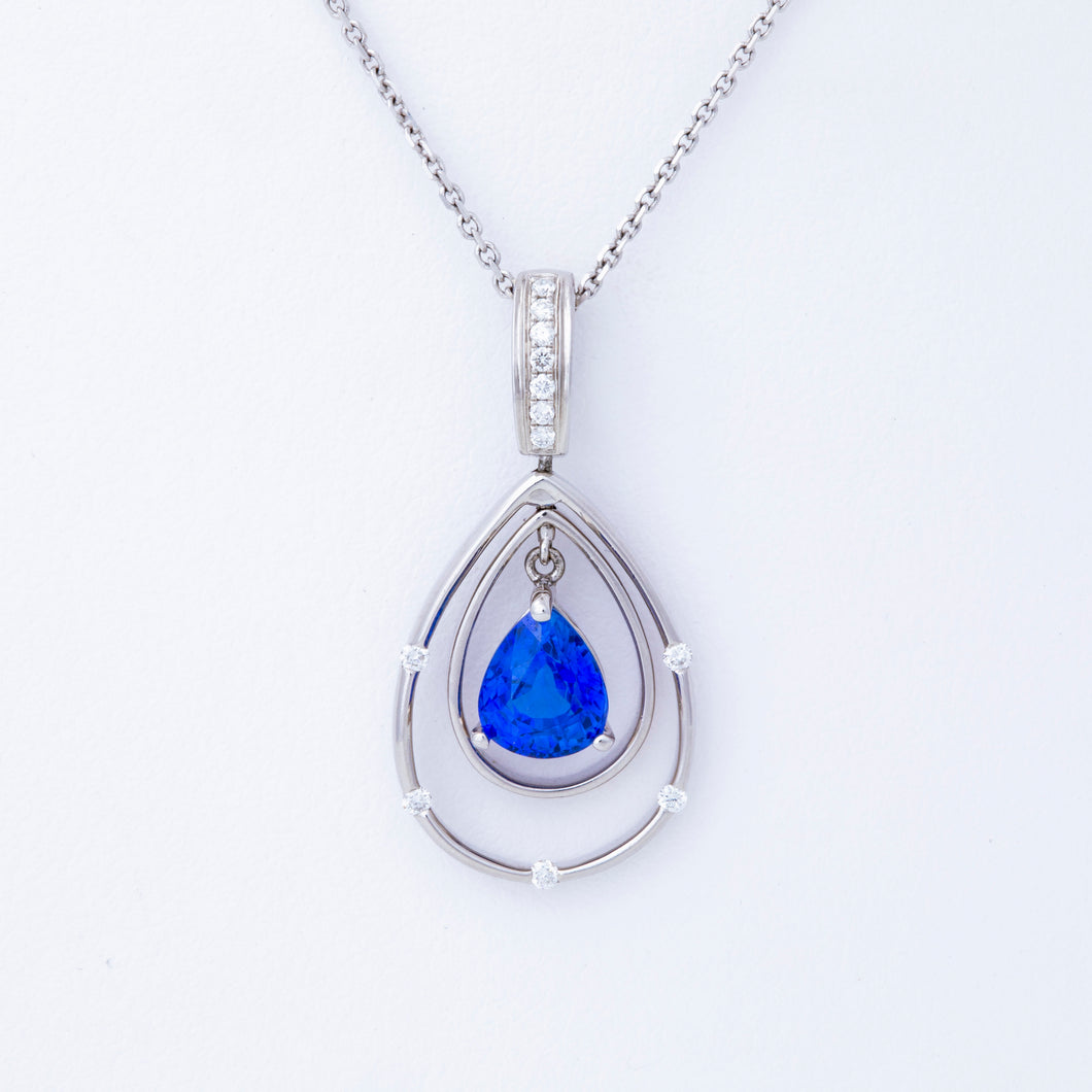 Pear Blue Sapphire and Diamond Pendant
