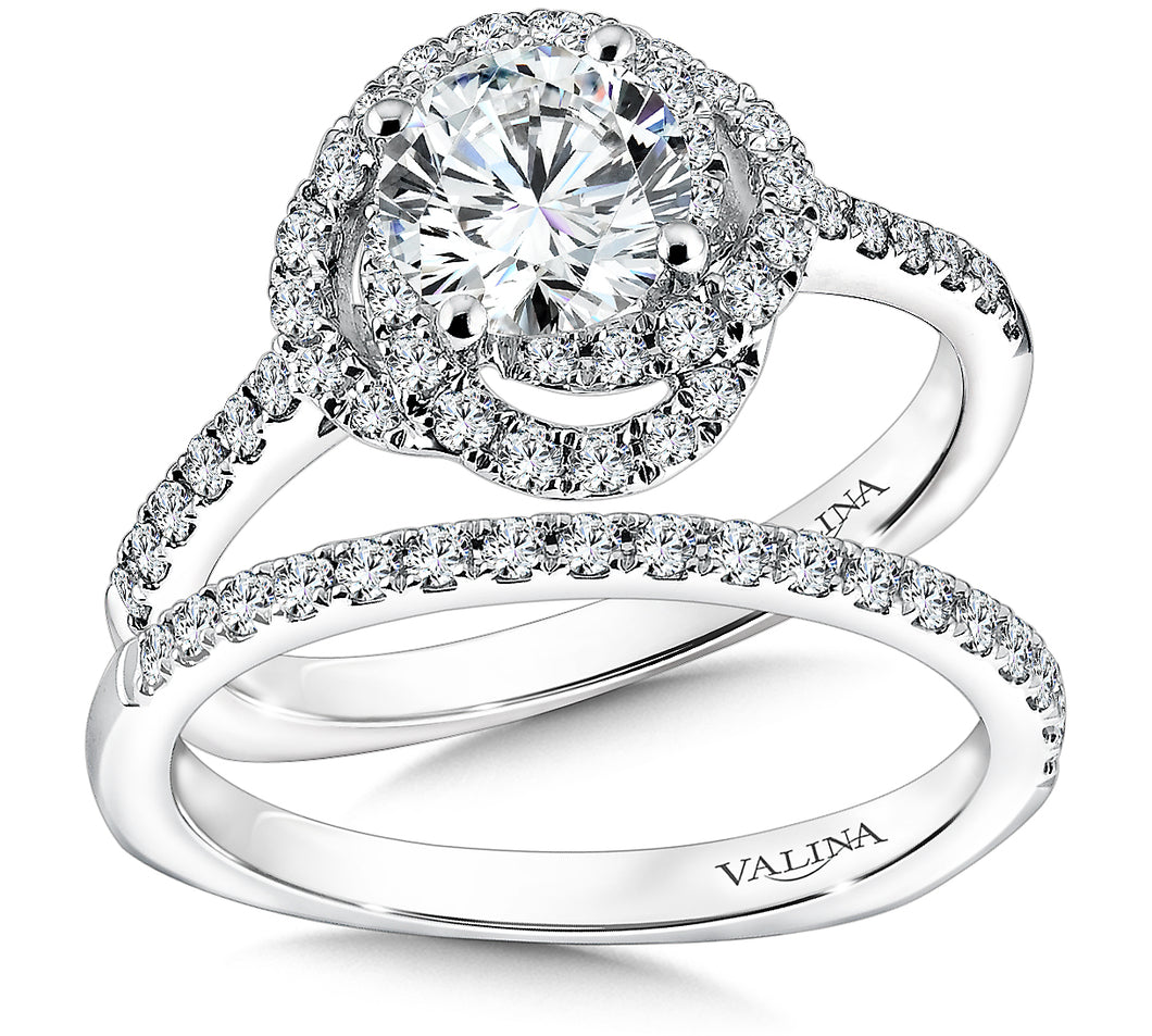 Spiral Halo Wedding Set