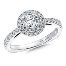 Double Halo Pave-Set Wedding Band Set