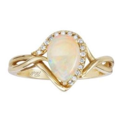 Pear-Shaped Australian Opal Gold Ring