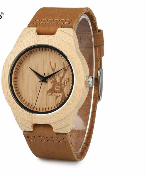 Style No. WW112 - Bobo Bird Bamboo Wooden Deer Head Design Watch for Him or Her