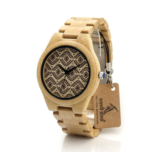 Model No. I28 - Hypoallergenic Bamboo Wooden Quartz Watch with Bamboo Straps