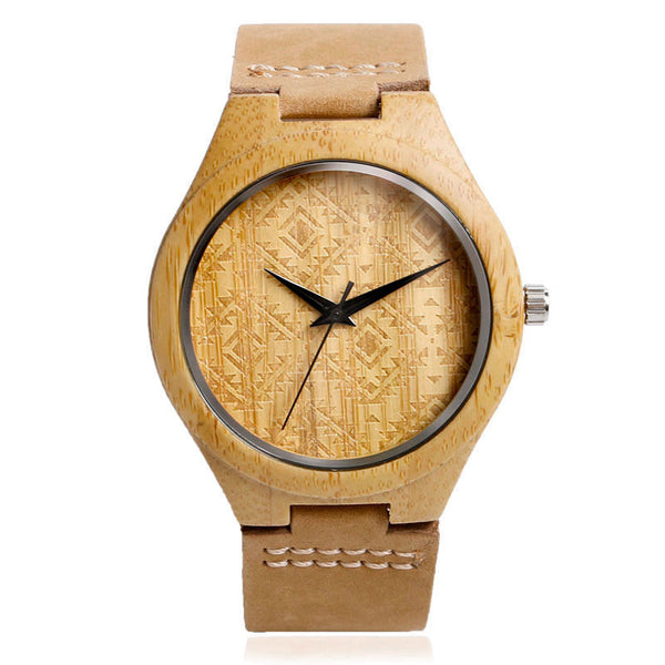 Style No. WM102 - Tiedan Quartz Wooden Watch with Leather Band