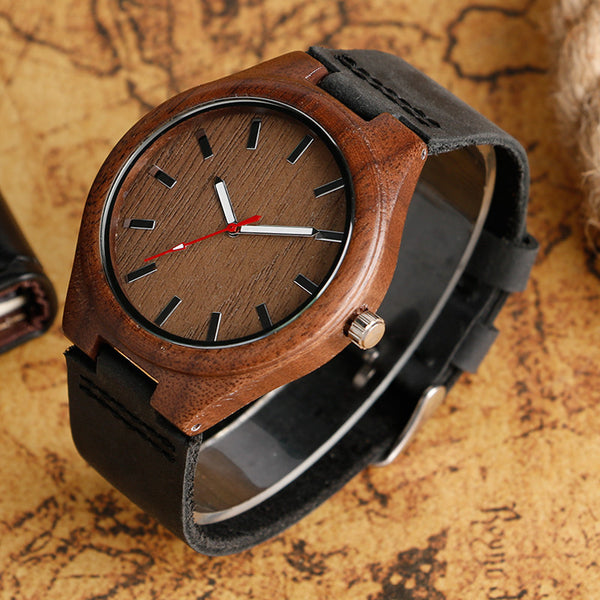 Simple Casual Wooden Watch Natural Bamboo Handmade Wristwatch Genuine Leatehr Band Strap Quartz-watch Men Women Gift