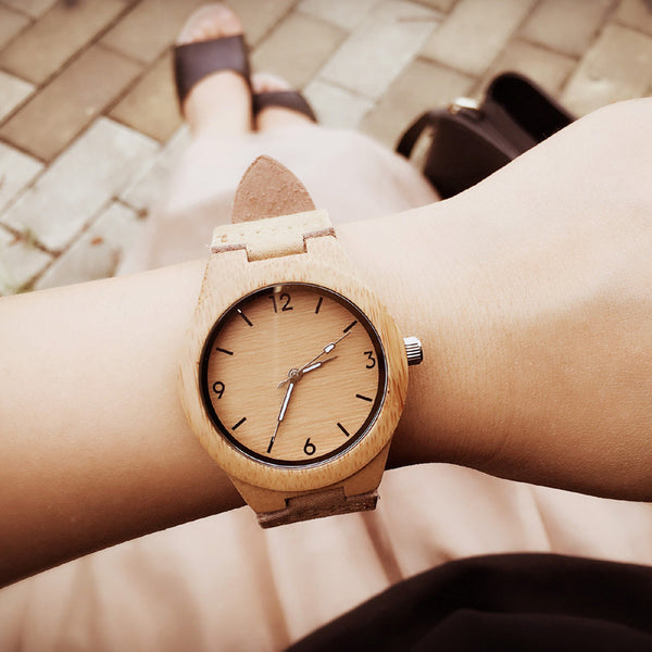 Bamboo wristwatch handmade natural wood quartz watches WW120