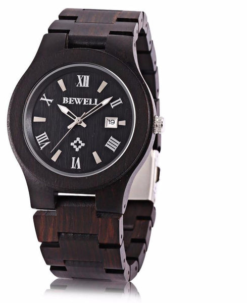 Bewell New Arrive Men Wooden Quartz Watch Date Luminous Display Japan Movt Wristwatch Fashion Watches relogio masculino 2017