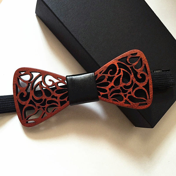 Style No. BT104 - Art Deco Wooden Bow Tie with Leather Middle
