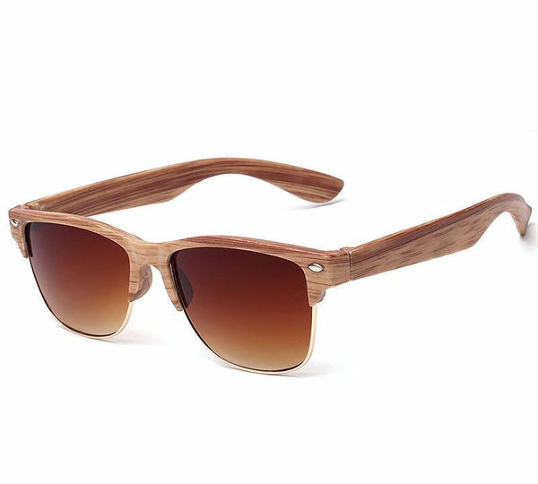 Model No. AT014 - Artorigan Wooden Half Framed Sunglasses with Colored Lenses