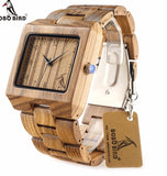 Square Zebra Wood Bamboo Watches For Men's Quartz with Oversized.