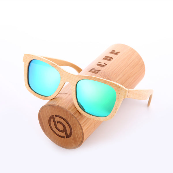 Style No. BW8201 - Barcur Men's and Women's Wood Frame Sunglasses with Case